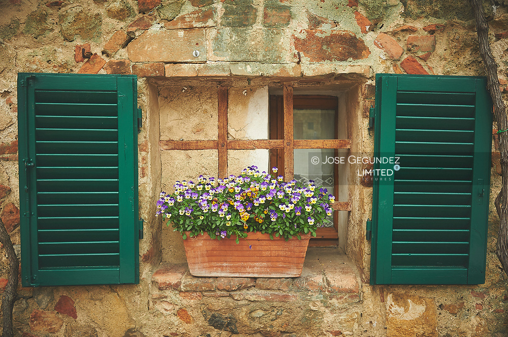 Spring is coming to window in Monterigione, Tuscany