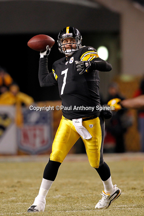Pittsburgh Steelers quarterback Ben Roethlisberger (7) throws a pass during the NFL 2011 AFC Championship playoff football game against the New York Jets on Sunday, January 23, 2011 in Pittsburgh, Pennsylvania. The Steelers won the game 24-19. (©Paul Anthony Spinelli)