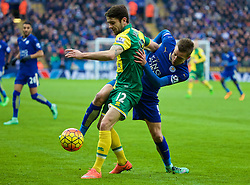 LEICESTER, ENGLAND - Saturday, February 27, 2016: Leicester City's Jamie Vardy and Norwich City's Robbie Brady during the Premier League match at Filbert Way. (Pic by David Rawcliffe/Propaganda)