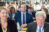 07 DEC 2018, HAMBURG/GERMANY:<br /> Jens Spahn, CDU, Bundesgesundheitsminister und Kandidat fuer das Amt des Parteivorsitzenden,  in der Reihen der Abgeordneten aus NRW, CDU Bundesparteitag, Messe Hamburg<br /> IMAGE: 20181207-01-098<br /> KEYWORDS: party congress