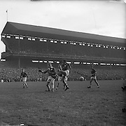 All Ireland Senior Football Championship Final, Louth v Cork .22.09.1957, 09.22.1957, 22st September 1957, ..Louth 1-09 Cork 1-07,.. 22091957AISFCF, ACTION DURING ALL IRELAND SENIOR GAELIC FOOTBALL FINAL BETWEEN LOUTH AND CORK IN CROKE PARK ON SEPTEMBER 21ST 1957, LOUTH WON THE SAM MAGUIRE CUP 1-9 TO 1-7, ..RESCAN/ Check.is this originally a square negative?.