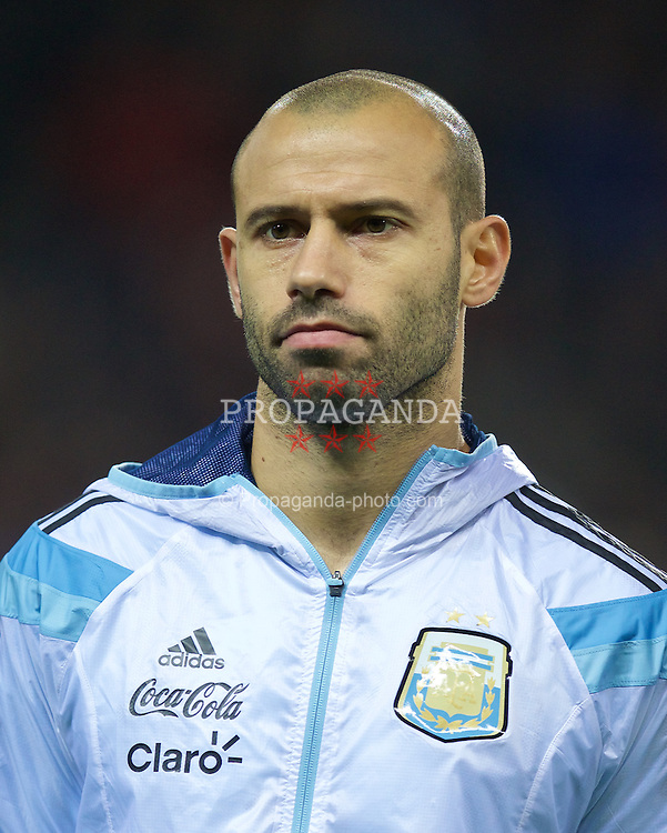 MANCHESTER, ENGLAND - Tuesday, November 18, 2014: Argentina's Javier Mascherano before the International Friendly match against Portugal at Old Trafford. (Pic by David Rawcliffe/Propaganda)