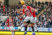 Scott McMann of Hamilton with an important defensive header away from goal during the Ladbrokes Scottish Premiership match between St Mirren and Hamilton Academical FC at the Paisley 2021 Stadium, St Mirren, Scotland on 13 May 2019.