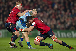 January 19, 2019 - Limerick, Ireland - Matt Kvesic of Exeter tackled by Jean Kleyn and John Ryan of Munster during the Heineken Champions Cup match between Munster Rugby and Exeter Chiefs at Thomond Park in Limerick, Ireland on January 19, 2019  (Credit Image: © Andrew Surma/NurPhoto via ZUMA Press)