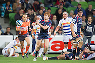 Nic Stirzaker (Rebels) passes during the Round 14 match of the 2013 Super Rugby Championship between RaboDirect Rebels vs DHL Stormers at AAMI Park, Melbourne, Victoria, Australia. 17/05/0213. Photo By Lucas Wroe