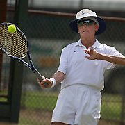Neville Halligan, Australia, in action in the 85 Mens Singles during the 2009 ITF Super-Seniors World Team and Individual Championships at Perth, Western Australia, between 2-15th November, 2009.