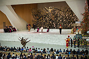Members of Golden Circus of Liana Orfei perform during Pope Francis weekly general audience in Paul Vi Hall - Vatican - December 27, 2017.