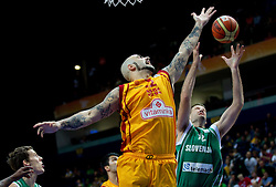 Pero Antic of Macedonia vs Goran Jagodnik of Slovenia during basketball game between National basketball teams of F.Y.R. of Macedonia and Slovenia at FIBA Europe Eurobasket Lithuania 2011, on September 10, 2011, in Siemens Arena,  Vilnius, Lithuania.  (Photo by Vid Ponikvar / Sportida)