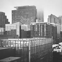 Foggy Austin Texas skyline buildings black and white picture. Austin, TX is a major city in the Southwestern United States of America. Picture was taken in 2016.