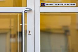 12.04.2017, IBU Hauptsitz, Salzburg, AUT, Hausdurchsuchung in der IBU Zentrale, im Bild Eingangtüre des Hauptsitz des Internationalen Biathlon Verbandes. Gegen IBU Präsident Anders Besseberg und seine deutsche Generalsekretärin Nicole Resch läuft ein Ermittlungsverfahren. Laut einer IBU-Mitteilung vom Mittwoch war dieses der Auslöser für die am Dienstag am IBU-Sitz vorgenommenen Hausdurchsuchungen // the headquarter of the International Biathlon Union. IBU President Anders Besseberg and his German Secretary General Nicole Resch are under investigation. According to a IBU release, this was the cause for the house search on Tuesday at the IBU headquarters, Salzburg, Austria on 2018/04/12. EXPA Pictures © 2018, PhotoCredit: EXPA/ JFK