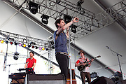 Keyboardist Ryan Dolliver, Singer Benjamin Grubin, and guitarist Brian White of Hockey perform at the 2010 Coachella Music Festival in Indio on Friday, April 16, 2010.