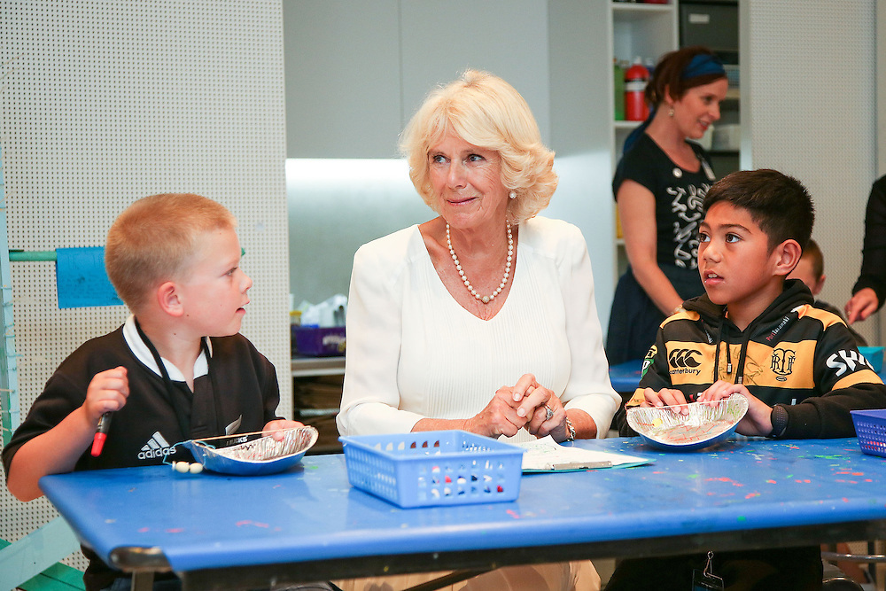 Camilla, Duchess of Cornwall meets children in the Learning Centre during a visit to the Len Lye Centre, New Zealand, New Zealand, Monday, November 09, 2015. Credit:SNPA / Getty, Hagen Hopkins  **POOL**