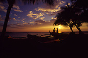 Couple at sunset, Hawaii<br />
