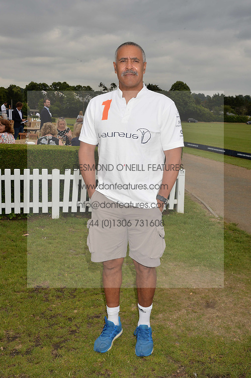 Daly Thompson at the Laureus King Power Cup polo match held at Ham Polo Club, Richmond, London England. 22 June 2017.<br /> Photo by Dominic O'Neill/SilverHub 0203 174 1069 sales@silverhubmedia.com