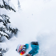 Hadley Hammer skis through whiteout conditions in the backcountry of the Tetons near Jackson Hole Resort in Teton Village, Wyoming.