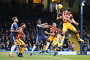 Southend United defender Anton Ferdinand (35) battles for ball with Bradford City defender Nat Knight-Percival (22) during the EFL Sky Bet League 1 match between Southend United and Bradford City at Roots Hall, Southend, England on 19 November 2016. Photo by Matthew Redman.