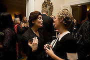Andrea Rose and Georgie Hopton, Dinner at the Italian Embassy in which the winner of the MaxMara Art Prize ( in collaboration with the Whitechapel art gallery )for Women is announced. Grosvenor Sq. London. 29 January 2008.  -DO NOT ARCHIVE-© Copyright Photograph by Dafydd Jones. 248 Clapham Rd. London SW9 0PZ. Tel 0207 820 0771. www.dafjones.com.