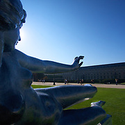 """Aristide Maillol's """"Air"""" graces the Tuileries garden in front of the Louvre in Paris, striking a pose quite similar to Prometheus in Rockefeller center in New York."""