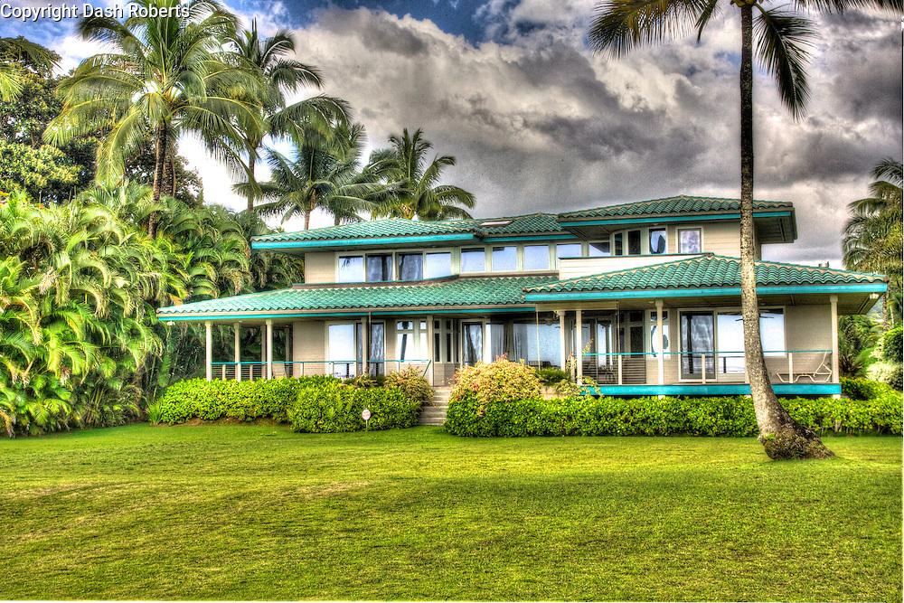 Beachfront home on Hanalei Bay, Hawaii on the island of Kauai.