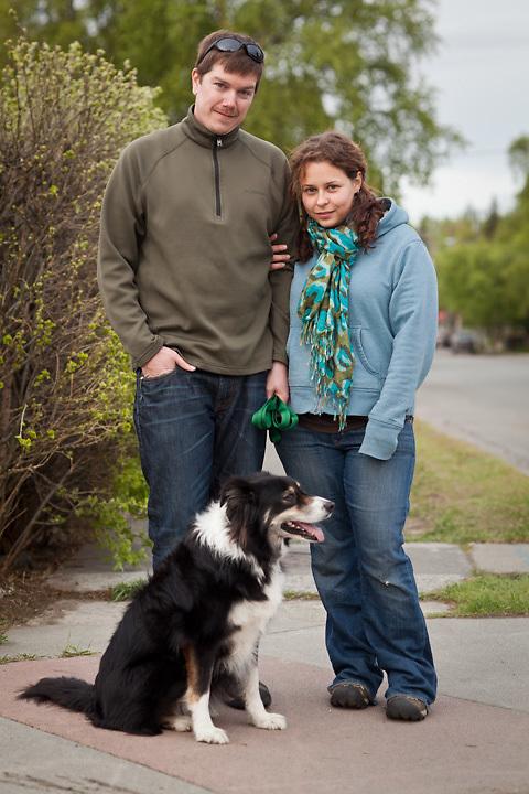 Owen Joyce and Allison Hupfauer with their dog, Kylie, near Westchester Lagoon, Anchorage