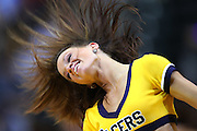 April 09, 2012; Indianapolis, IN, USA; An Indiana Pacers cheerleader dances on the court during a timeout  at Bankers Life Fieldhouse. Indiana defeated Toronto 103-98. Mandatory credit: Michael Hickey-US PRESSWIRE