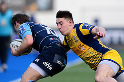 Josh Adams of Worcester Warriors tackles Jarrod Evans of Cardiff Blues - Mandatory by-line: Dougie Allward/JMP - 04/02/2017 - RUGBY - BT Sport Cardiff Arms Park - Cardiff, Wales - Cardiff Blues v Worcester Warriors - Anglo Welsh Cup