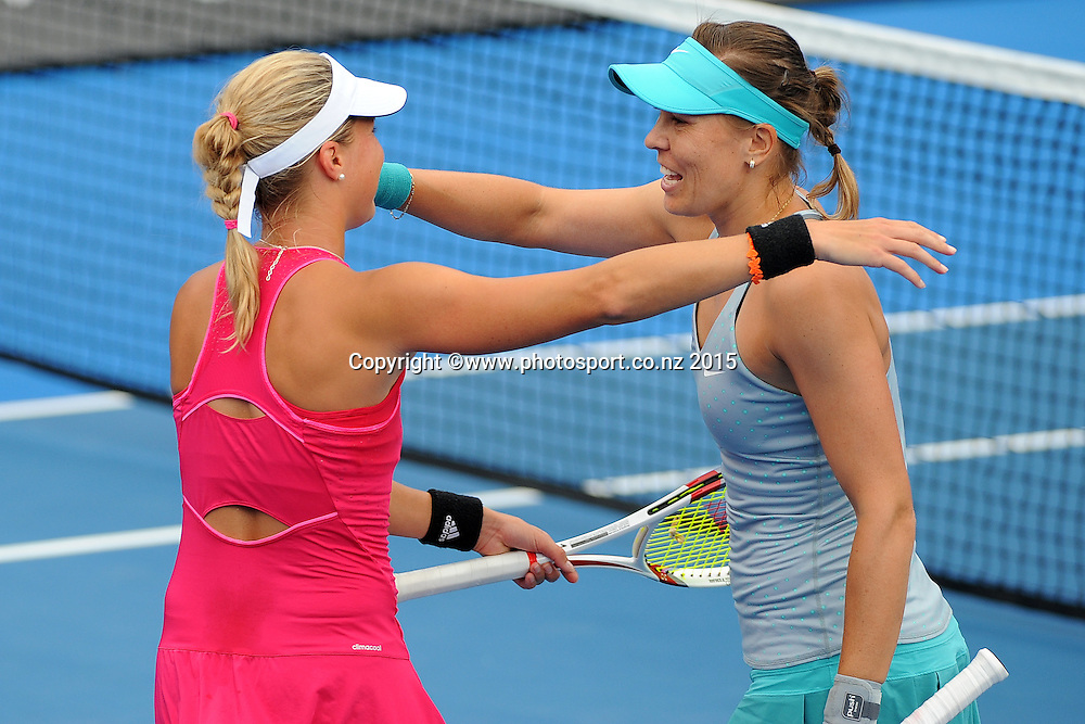 Czech Republic player Andrea Hlavackova and Lucie Hradecka during their doubles Quarter Finals of the ASB Classic Women's International. ASB Tennis Centre, Auckland, New Zealand. Thursday 8 January 2015. Copyright photo: Chris Symes/www.photosport.co.nz