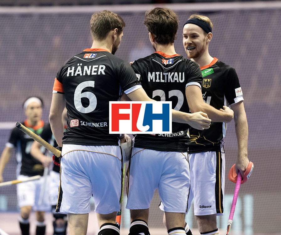 BERLIN - Indoor Hockey World Cup<br /> Men: Poland - Germany<br /> foto: Martin H&auml;ner, Marco Miltkau and Christopher R&uuml;hr.<br /> WORLDSPORTPICS COPYRIGHT FRANK UIJLENBROEK