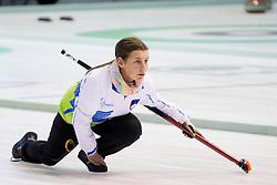 Nika Cerne of Slovenia during European Curling Championship C-division between national team of Slovenia and Lithuania on April 29, 2016 in Ledena dvorana Zalog, Ljubljana, Slovenia. Photo By Urban Urbanc / Sportida