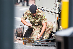 © Licensed to London News Pictures. 20/09/2017. Leeds UK. An Army bomb disposal unit has carried out a controlled explosion in Kirkgate market in Leeds city centre after a suspicious package was found in the Kirkgate market in the city centre. Photo credit: Andrew McCaren/LNP