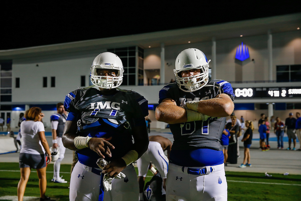 IMG Academy plays St. Joseph Regional at IMG in Bradenton, Fla., on Friday, October 2, 2015. IMG is the world's largest and most advanced multi-sport and education complex for youth, collegiate, professional and adult athletes. / (August 30, 2015; IMG Photo by Casey Brooke Lawson)