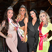 The Cannon Run bikini girls winners Kitty King (2ND),Jade Hobden (3RD) Katy Roocroft head girl and Little Miss Loon (1st) at the Driving holiday experience hosts yacht party at The Sunborn Yacht, Royal Victoria Dock on 31 May 2019, London, UK.