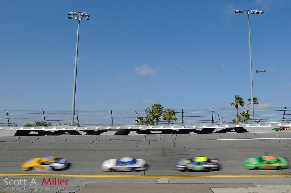 Feb. 13, 2010; Daytona Beach, FL, USA; Nationwide Series drivers head through turn 4 during the Drive4COPD 300  at Daytona International Speedway. ©2010 Scott A. Miller