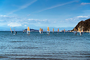 windsurfing with Mount Fuji in the background  Kamakura Japan