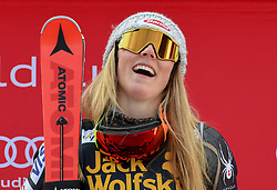 17.03.2018, Aare, SWE, FIS Weltcup Ski Alpin, Finale, Aare, Slalom, Damen, Siegerehrung, im Bild Mikaela Shiffrin (USA, Gewinnerin des Slaloms in Are sowie des Slalom Welt Cup) // Mikaela Shiffrin of the USA winner of todays Race and winner of the Slalom World Cup during the winner Ceremony for the ladie's Slalom of FIS Ski Alpine World Cup finals in Aare, Sweden on 2018/03/17. EXPA Pictures © 2018, PhotoCredit: EXPA/ Erich Spiess