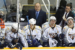January 8, 2011; San Jose, CA, USA; Nashville Predators head coach Barry Trotz on the bench during the second period against the San Jose Sharks at HP Pavilion. Mandatory Credit: Jason O. Watson / US PRESSWIRE