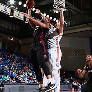 Sioux Falls Skyforce Forward JARNELL STOKES (21) drives towards the basket for a high percentage lay-up as Delaware 87ers Center JORDAN RAILEY (32) defends in the second half of a NBA D-league regular season basketball game between the Delaware 87ers and the Sioux Falls Skyforce Friday, Mar. 25, 2016, at The Bob Carpenter Sports Convocation Center in Newark, DEL.