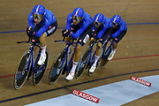 Men Team Sprint, Elia Viviani (Italy), Francesco Lamon (Italy), Filippo Ganna (Italy), Michele Scartezzini (Italy), Liam Bertazzo (Italy), during the UEC Track Cycling European Championships Glasgow 2018, at Sir Chris Hoy Velodrome, in Glasgow, Great Britain, Day 2, on August 3, 2018 - Photo Luca Bettini / BettiniPhoto / ProSportsImages / DPPI - Belgium out, Spain out, Italy out, Netherlands out -