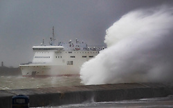 © Licensed to London News Pictures. 09/02/2020. Portsmouth, UK. A Brittany Ferry heads out of Portsmouth as Storm Ciara batters the UK. Airlines have cancelled dozens of domestic and international flights as the storm brings strong winds and rain. Photo credit: Peter Macdiarmid/LNP