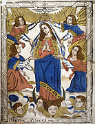 Coronation of the Virgin Mary. From 19th century French coloured woodcut.