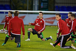 BANGOR, WALES - Tuesday, November 15, 2016: Wales' Liam Cullen warms-up before the UEFA European Under-19 Championship Qualifying Round Group 6 match against Luxembourg at the Nantporth Stadium. (Pic by David Rawcliffe/Propaganda)