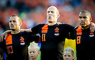 During the National Anthem Wesley Sneijder, Arjen Robben and Gregory van der Wiel  The Netherlands versus    Slovakia during friendly soccer match between Netherlands vs Slovakia in Rotterdam on May 30, 2012. AFP PHOTO/ ROBIN UTRECHT