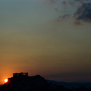 A panoramic view of Athens, Greece showing the Acropolis at sunset in Athens, Greece 23rd July 2011. Photo Tim Clayton