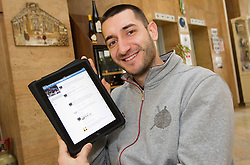 Dragan Gajic of Slovenia Men Handball team with Facebook page on iPad during 3rd day of 10th EHF European Handball Championship Serbia 2012, on January 17, 2012 in Hotel Srbija, Vrsac, Serbia.  (Photo By Vid Ponikvar / Sportida.com)