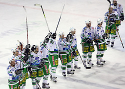 Players of Olimpija celebrating the victory after the ice hockey match ZM Olimpija vs Liwest Linz in sixth round of semi-final of Ebel League (Erste Bank Eishockey Liga),  on March  9, 2008 in Arena Tivoli, Ljubljana, Slovenia. Win of ZM Olimpija 2:0, ZM Olimpija qualified in finals. (Photo by Vid Ponikvar / Sportal Images)