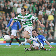 Aiden McGeady goes past Cristian Dailly during the League Cup final between Rangers and Celtic at Hampden Park -<br /> David Young