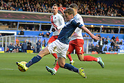 Birmingham City midfielder Stephen Gleeson stretches to cross during the Sky Bet Championship match between Birmingham City and Charlton Athletic at St Andrews, Birmingham, England on 21 November 2015. Photo by Alan Franklin.