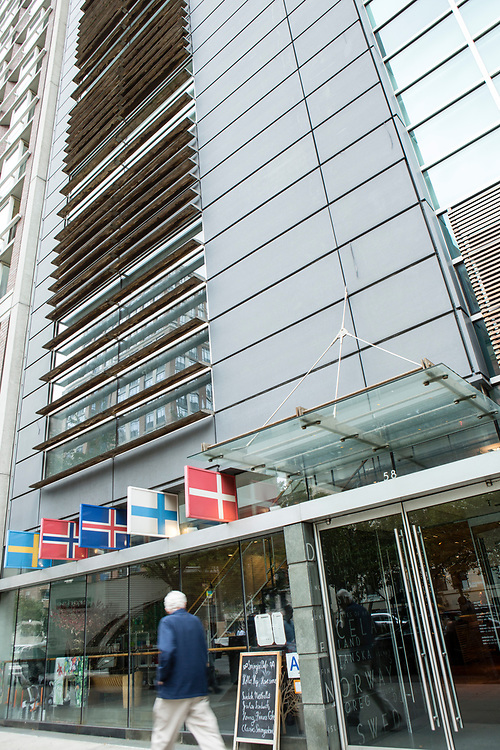 The exterior of Scandianavia House on Park Avenue, with its display of the flags of the Scandinavian countries.