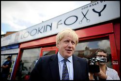 London Mayor Boris Johnson during the Mayoral Campaign, London, UK, April 13, 2012. Photo By Andrew Parsons / i-Images.