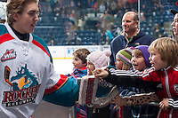 KELOWNA, CANADA - JANUARY 22: Fans cheer on the Kelowna Rockets as they exit the ice after the win against the Everett Silvertips on January 22, 2014 at Prospera Place in Kelowna, British Columbia, Canada.   (Photo by Marissa Baecker/Getty Images)  *** Local Caption *** fans;